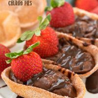 These to make these Chocolate Churro Pies are mini churros filled with chocolate pie filling.