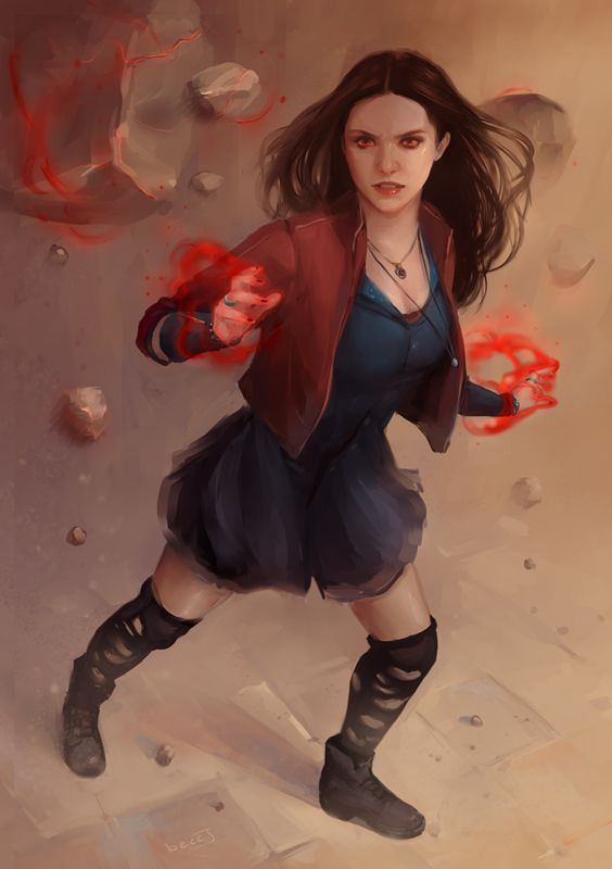from beccjohnson on tumblr.  GORGEOUS Scarlet Witch fan art