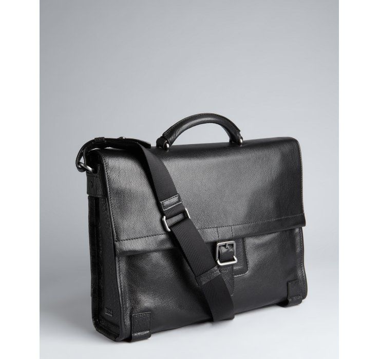 c28d44a17047 Hugo Boss Boss Hugo Boss black leather messenger bag