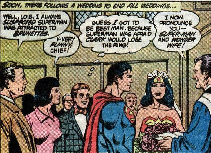 Superman and wonder woman marriage