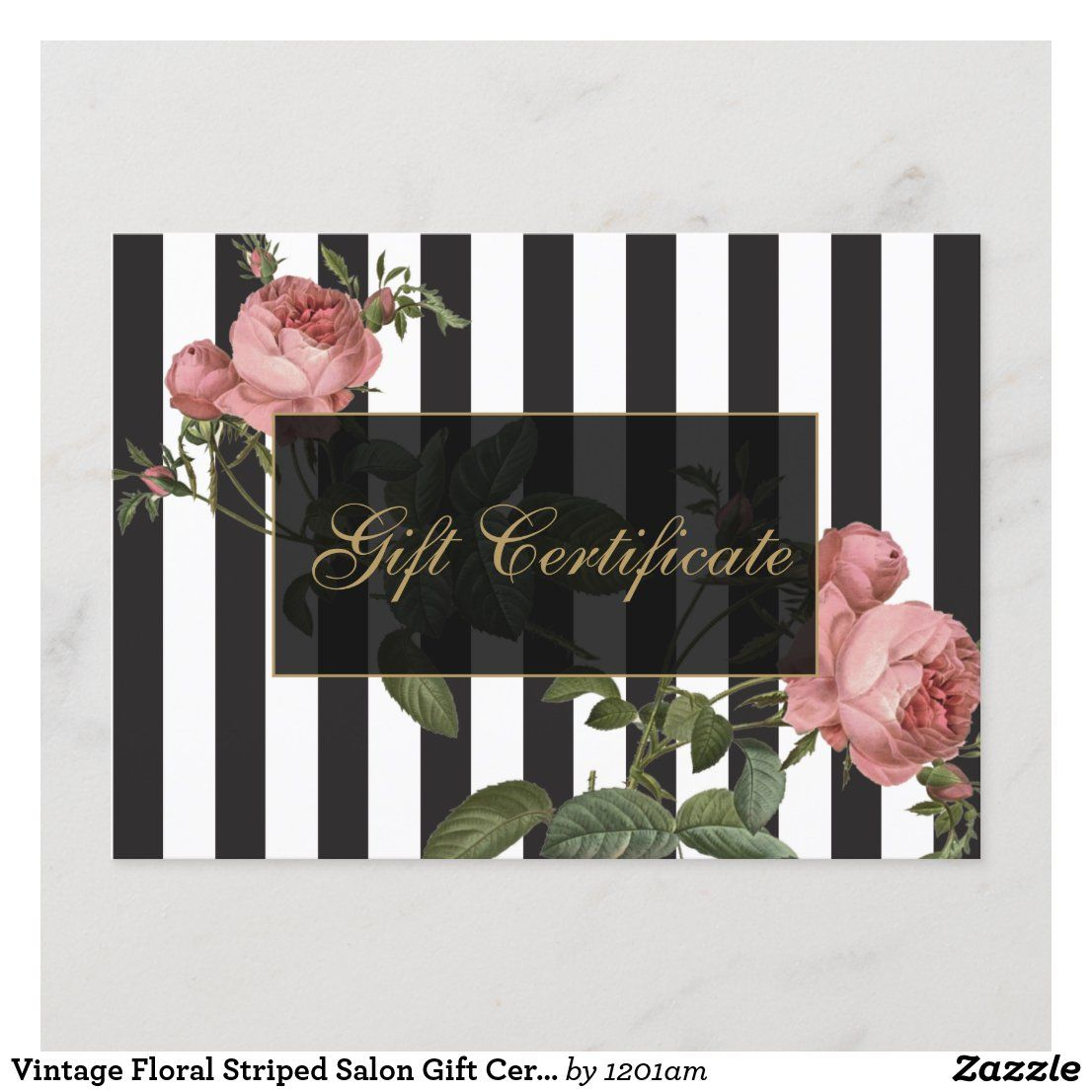 Vintage Floral Striped Salon Gift Certificate Zazzle Com Salon Gifts Gift Certificates Corporate Gifts