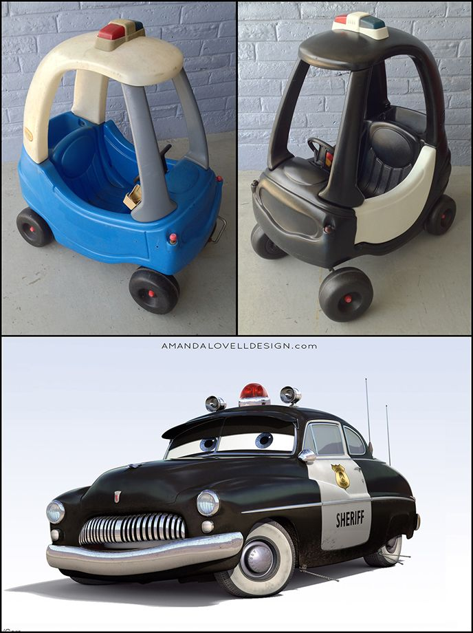 Little tykes cozy coupe makeover to look like sheriff from for Little tikes motorized vehicles