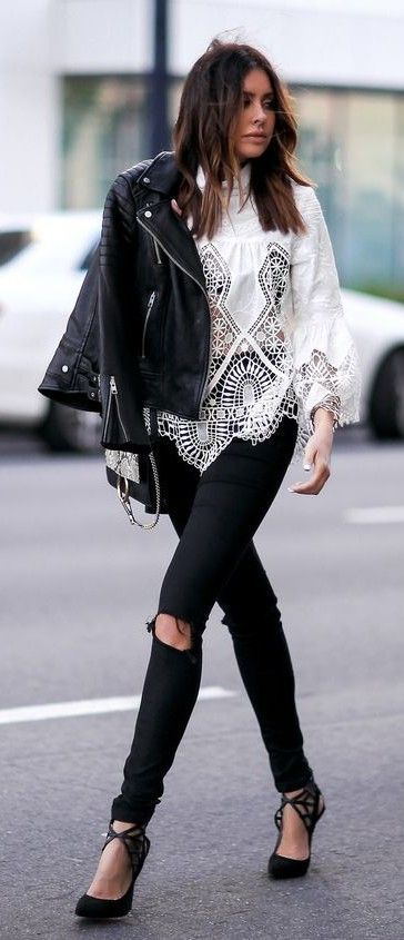 1182987fa884c Pin by 💖 on outfits   Fashion, Edgy chic, All saints leather jacket