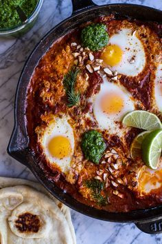 Northern Indian Style Baked Eggs with Green Harissa + Naan-1