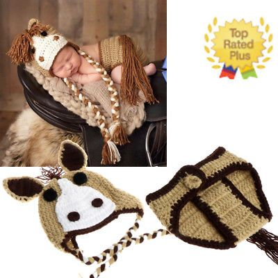 26ebf305e Baby Girl Boy Newborn Unicorn Knit Crochet Clothes Costume Photo ...