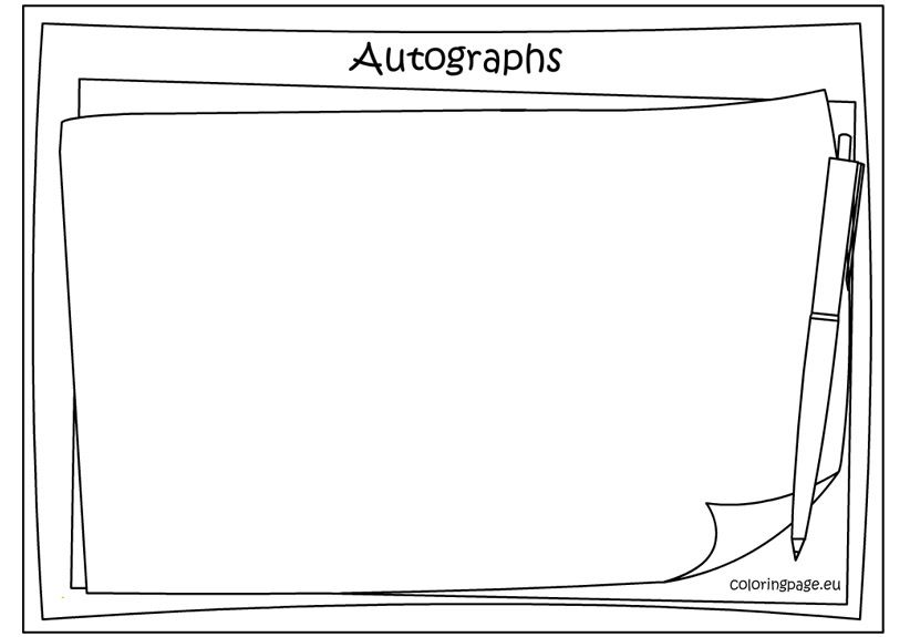 Memory Book Autographs Coloring Page Memory Books Coloring Pages Memories