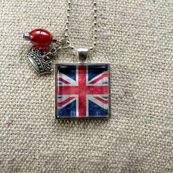 British UK Flag Glass Pendant Necklace with crown charm by What The Buckle on etsy.com