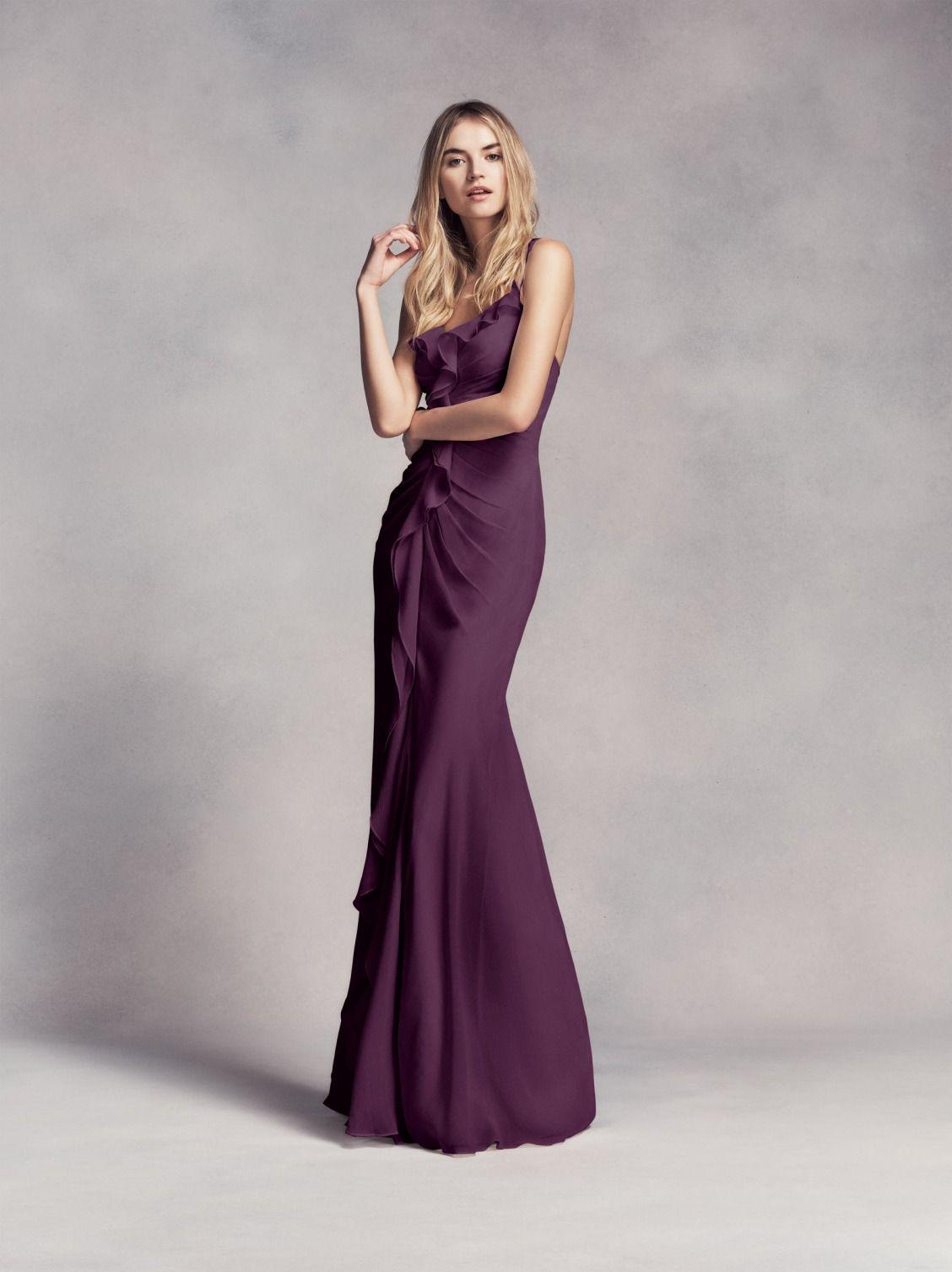 69b999ed1c6 Spaghetti Strap and Ruffled Long Purple Chiffon White by Vera Wang Bridesmaid  Dress at David s Bridal