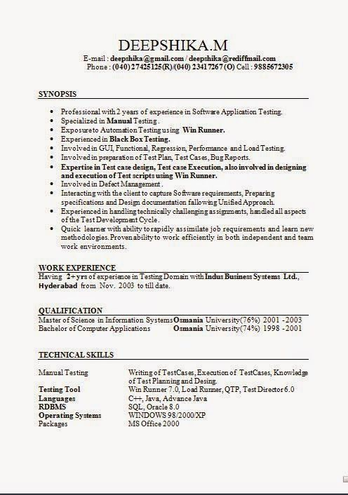 latest sample of resume Sample Template Excellent Resume with - qtp resume