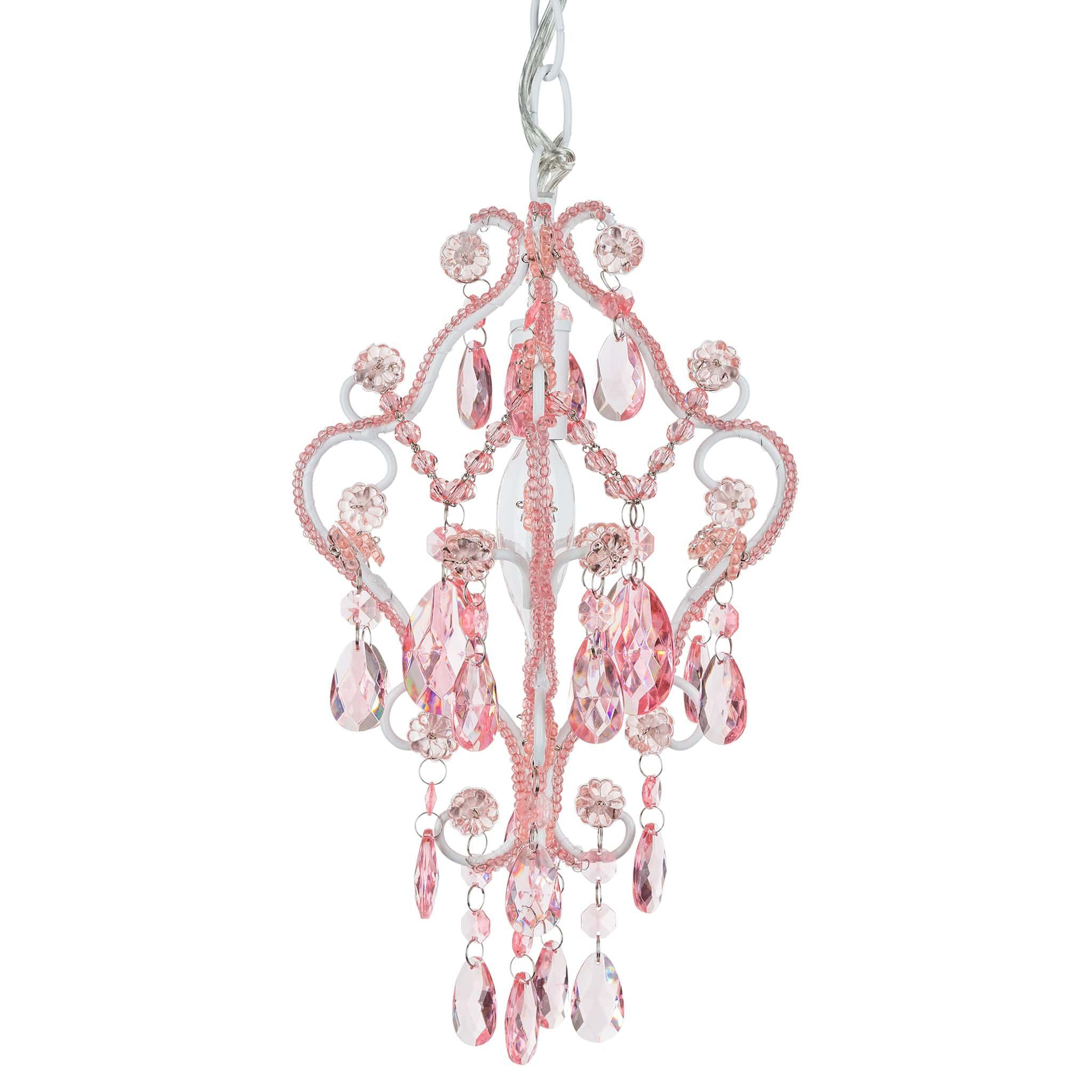 1 Light Mini Crystal Beaded Nursery Chandelier Pink