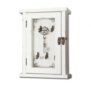 Schlüsselkasten KEYS Nostalgie-Stil Holz Weiss 25x17cm - Shop