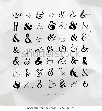 Set of hand drawn decoration ampersands for letters and invitation set of hand drawn decoration ampersands for letters and invitation drawing on crumpled paper background stopboris Gallery