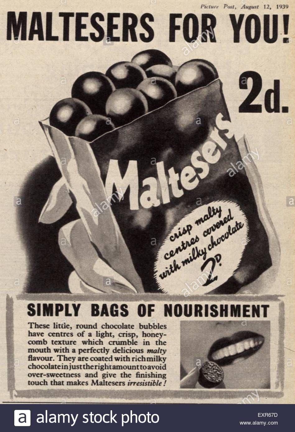 1930s Uk Maltesers Magazine Advert Exr67d Jpg 949 1390