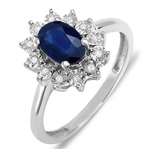 Solid Sterling Silver Kate Middleton's Engagement Ring with Blue Sapphire CiZmXV7g
