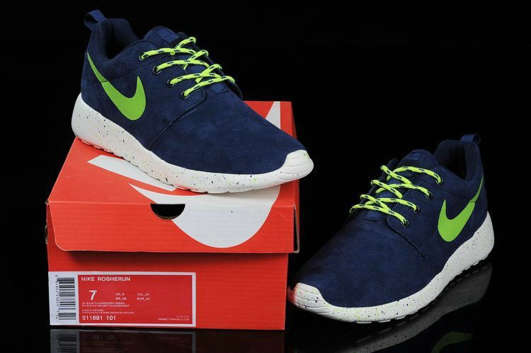 19983dedb64b0 2018 Factory Authentic Nike Mens Roshe Run Suede Midnight Navy Lime Green  51881 101