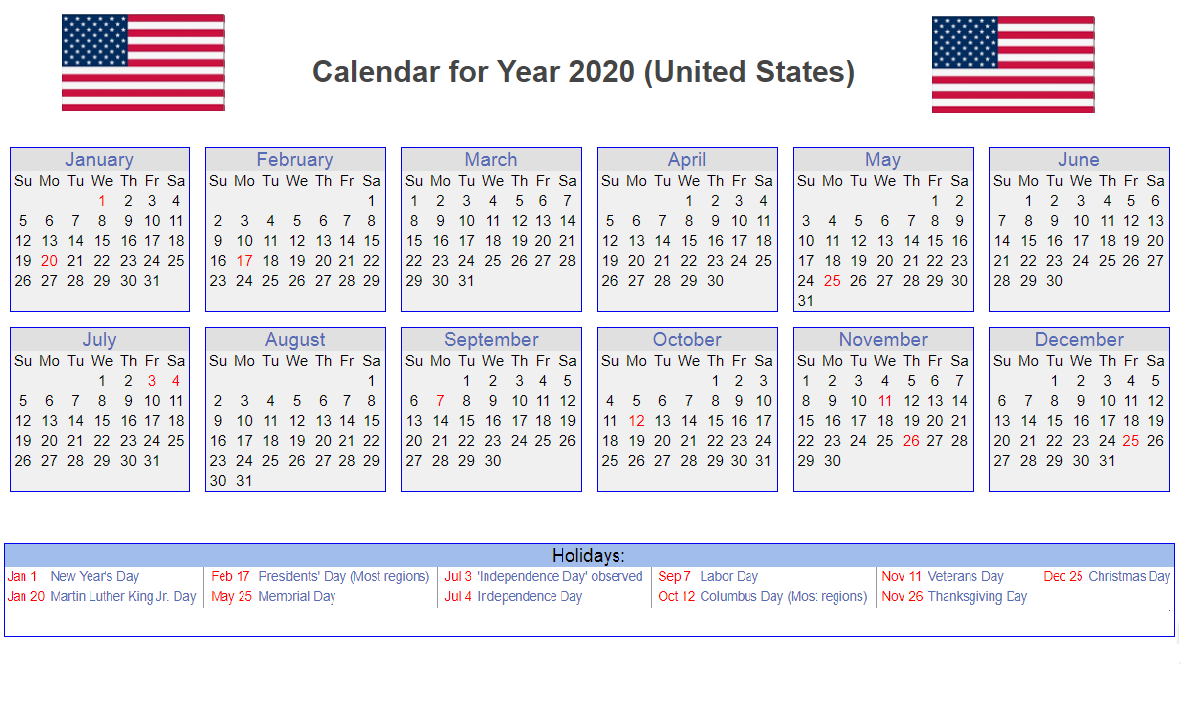 Calendar For Usa 2020 In 2020 Holiday Calendar Printable Calendar Printables Federal Holiday Calendar