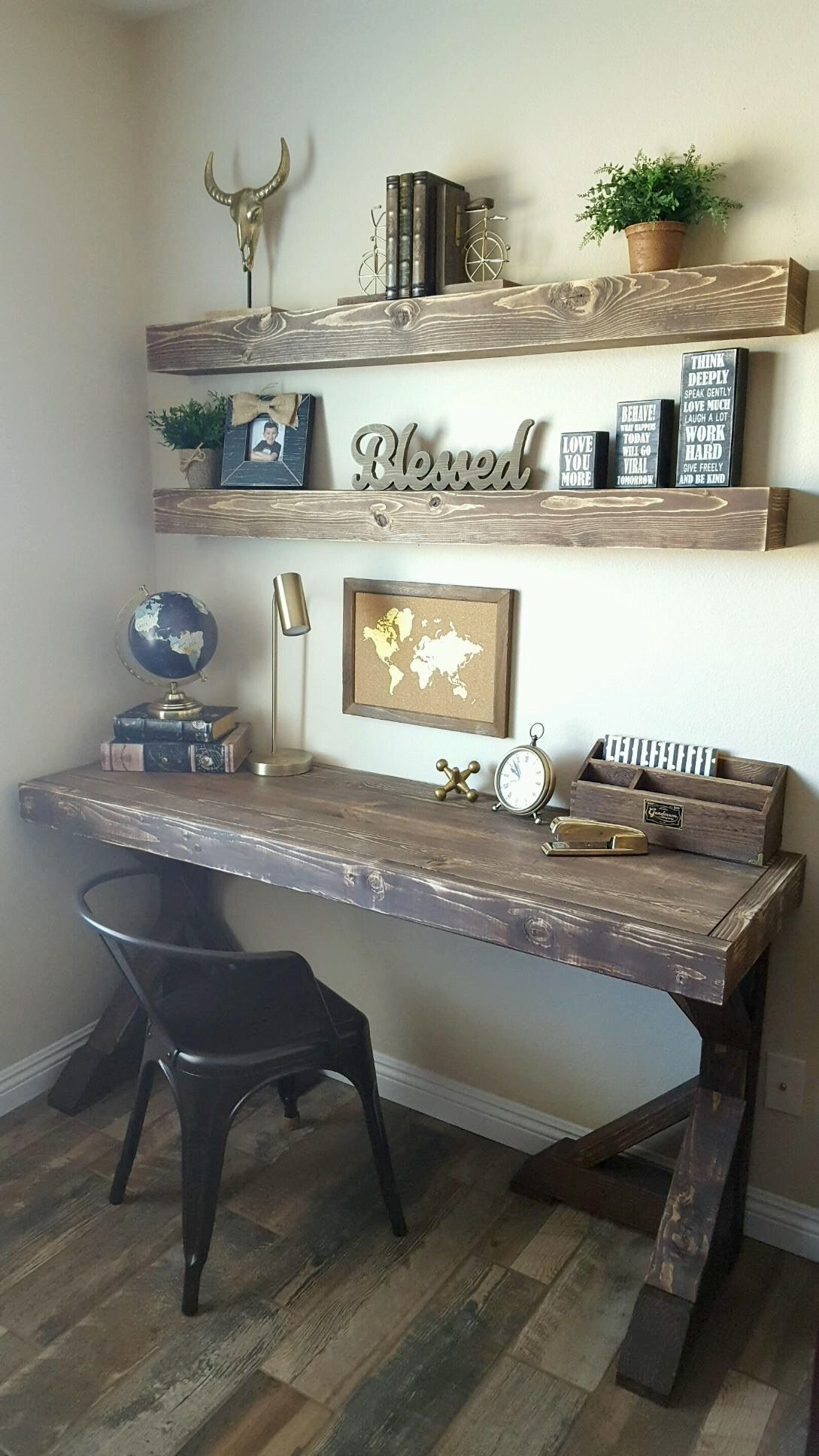 Farmhouse Desk With Floating Shelves Home Decor Home Office