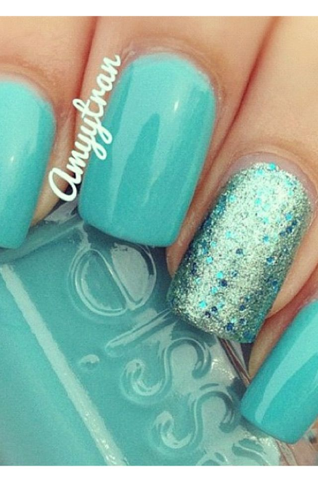 Pretty Tiffany Blue Nails Fashion Pinterest Tiffany Blue Nails