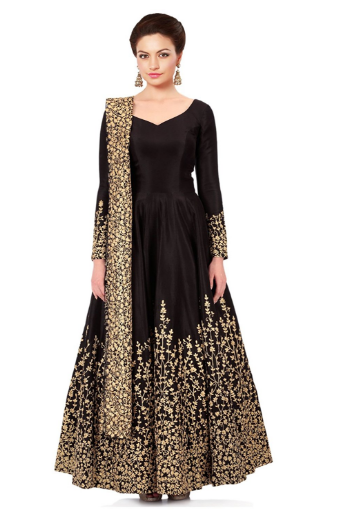 This Is A Gorgeous Black Color Anarkali Dress And It Is Semi