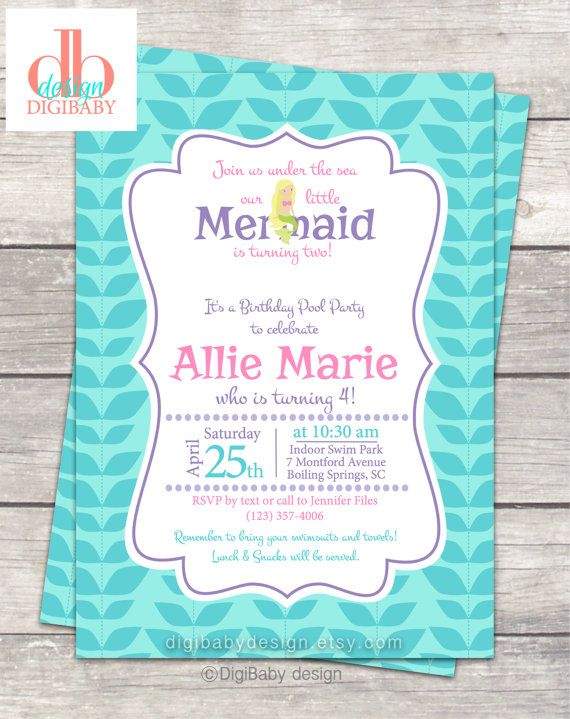 Mermaid Birthday Party Invitation In White Or Chalkboard Background By DigiBabyDesign Poolparty Mermaidbirthdayparty Digibabydesign