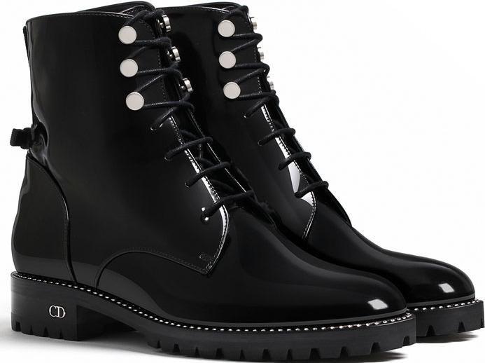 Christian Dior Black Glazed Calfskin Ankle Boot as seen on Bella Hadid