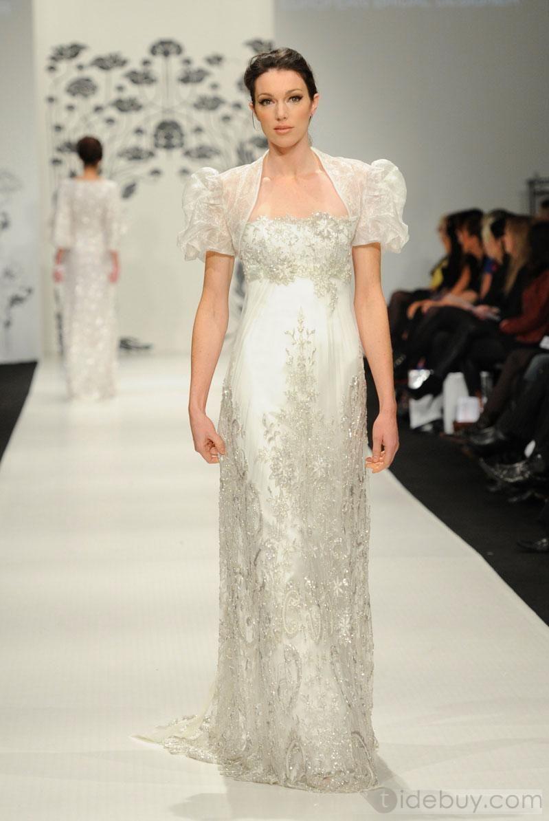 Fancy sheathcolumn strapless floorlength lace wedding dresses