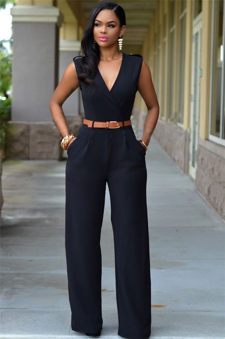 f593cdb48e81 ITCQUALITY DEEP V WOMEN S ROMPERS JUMP SUITS SLEEVELESS ELEGANT WITH BELT  COMBINATION. COLOR  BLACK