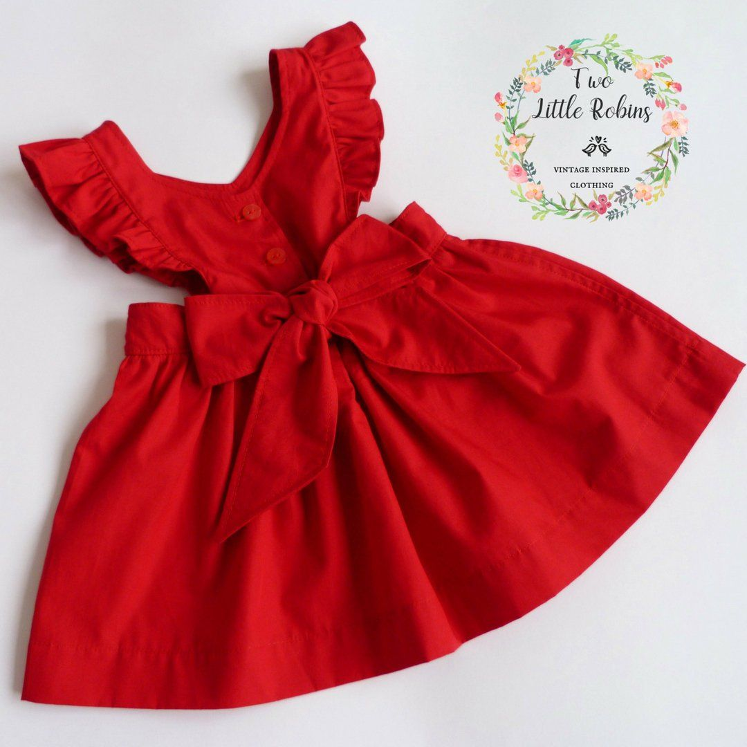 7c6f8c46ee90f Girls Christmas Dress with Oversized Bow, Classic Pinafore Dress, Baby  Toddler and Teen sizes, Handmade Vintage by TwoLittleRobinsUK on Etsy