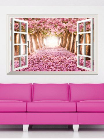3D Floral Window Design Living Room Removable Wall Stickers | Window ...