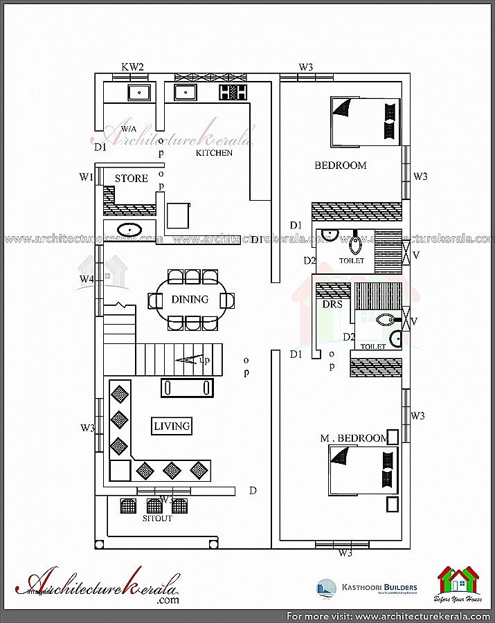 Kerala Home Design And Floor Plans: House Plans And Elevations In Kerala Awesome House Plans In Kerala With 2 Bedrooms Asian Mod