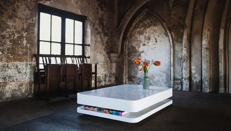 Minimalistische möbel in weiß mit kühnem visuellem effekt möbel