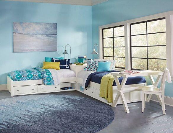 Best Caitlin White Extra Long Twin Size Corner Unit Beds L 400 x 300