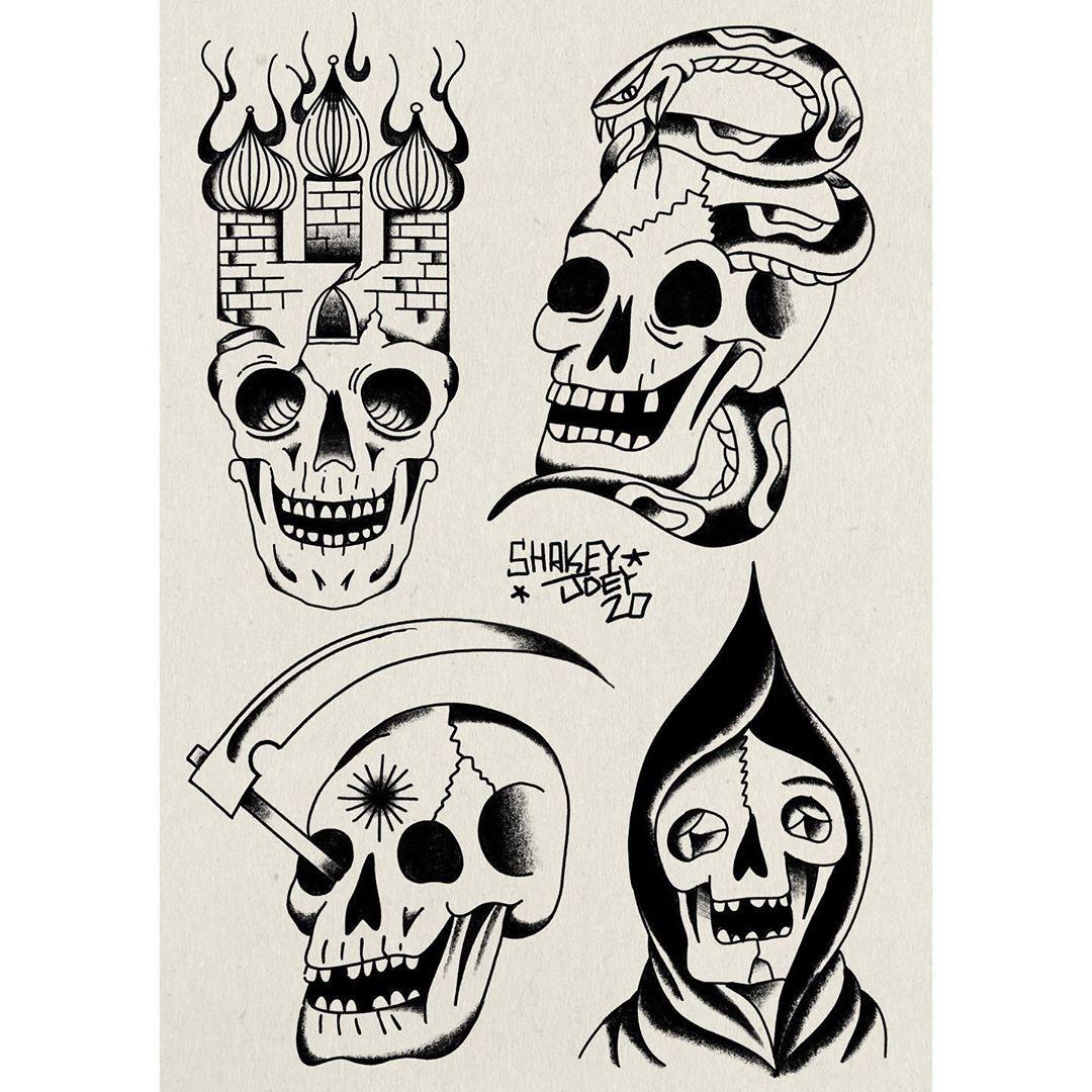 Watching your head shakey_joey tattoo flash blackwork