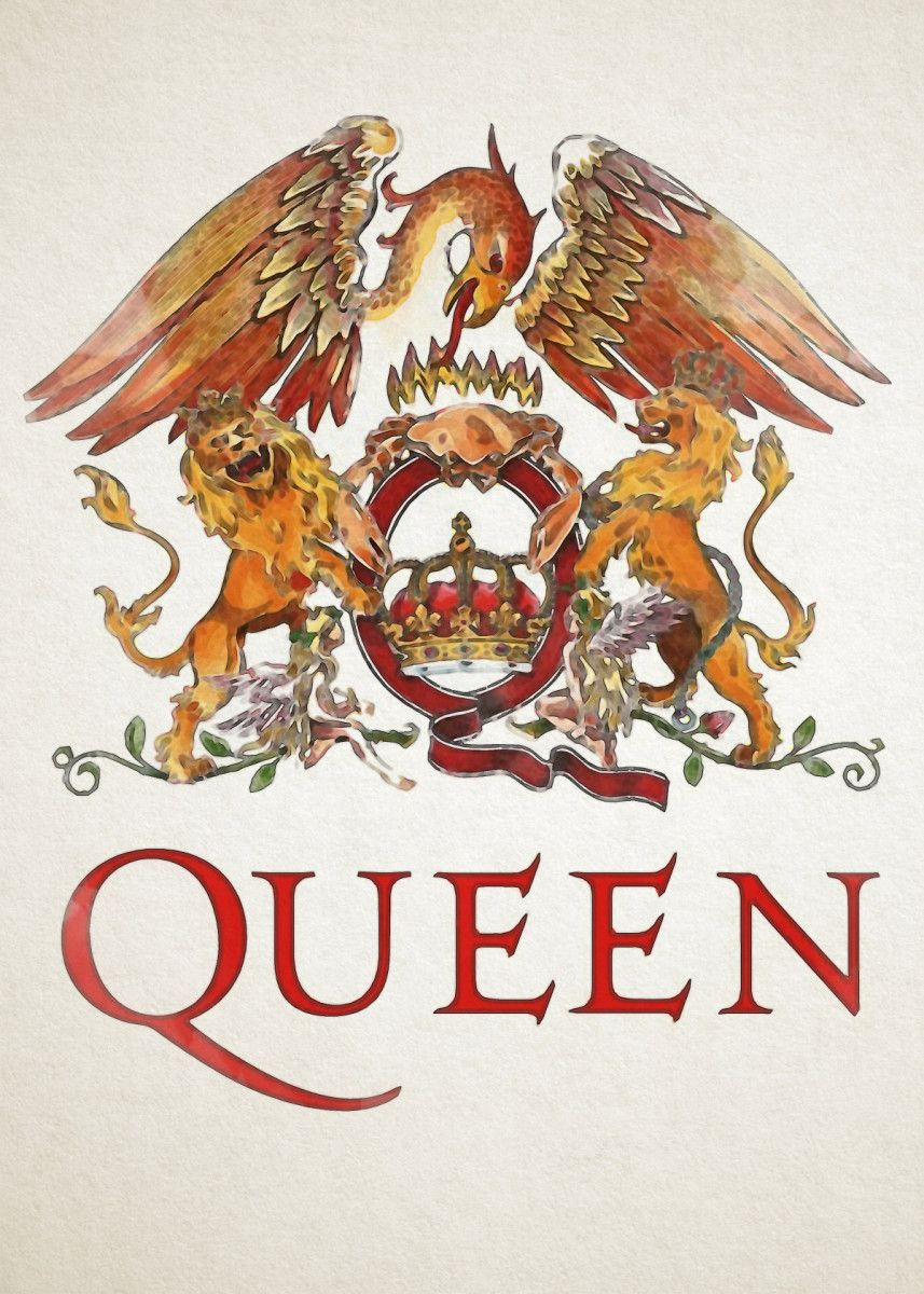 Queen Logo Poster Print By Zull Displate In 2020 Queen Poster Queens Wallpaper Rock Band Posters