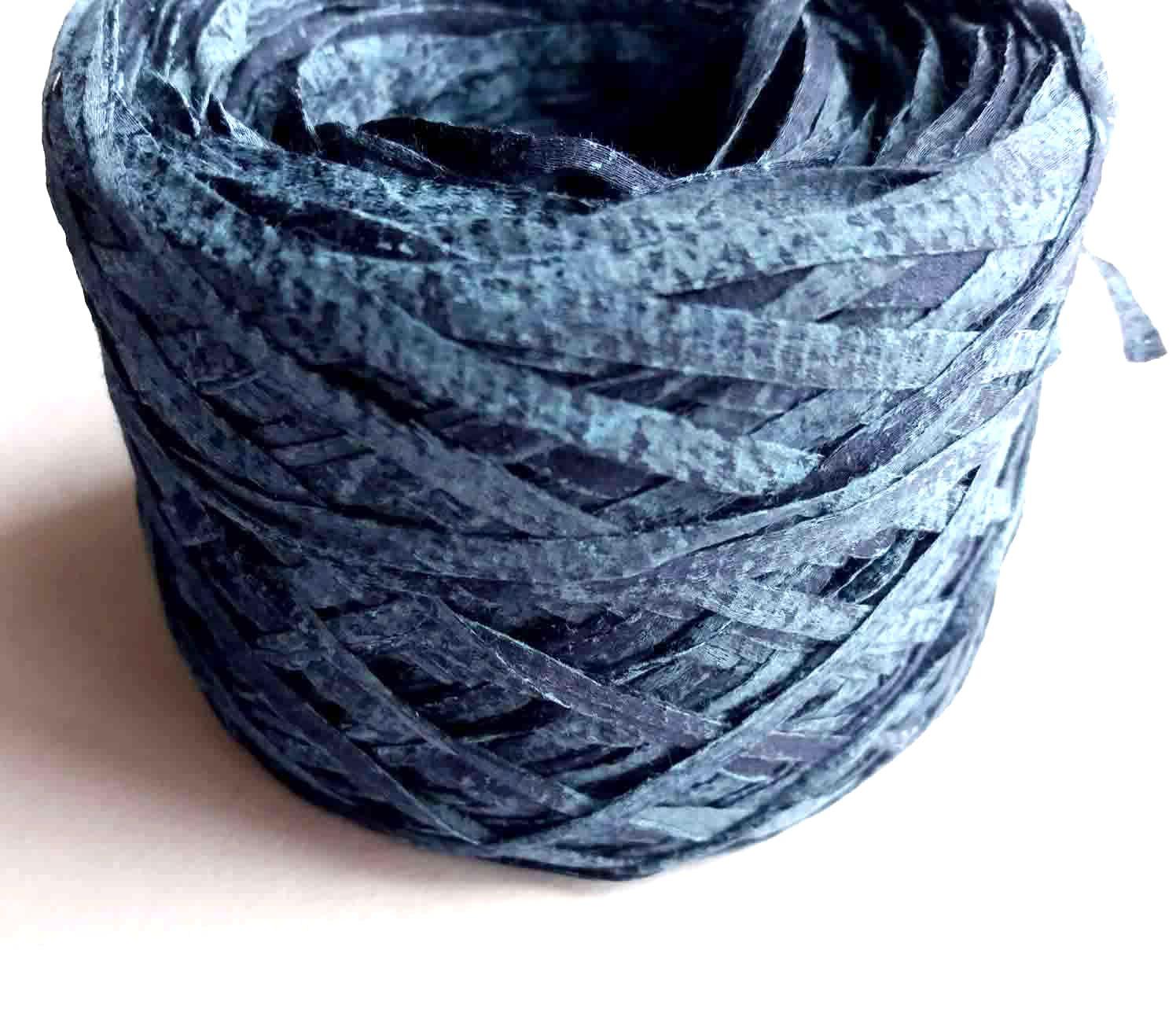 Blue Denim Effect Cotton Ribbon Yarn   Special Effect Yarn
