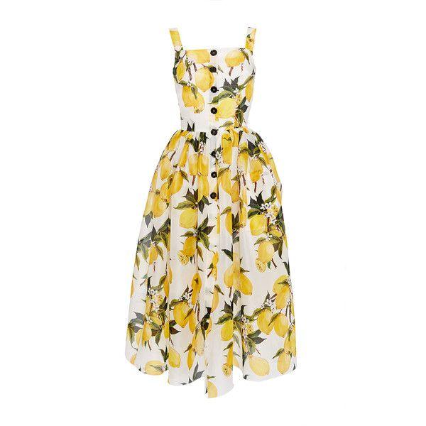 432a0f2519bf Dolce   Gabbana Cotton Lemon Print and Needlepoint Dress ( 3