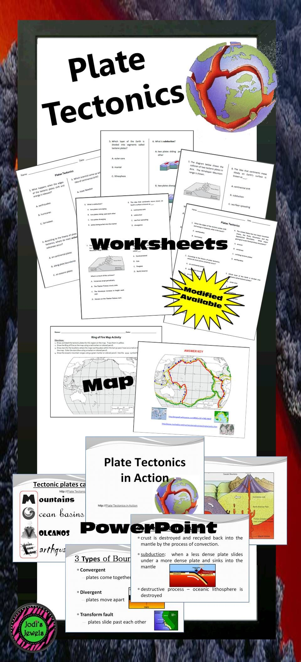 Plate tectonic lesson activities including maps, quizzes, tests ...