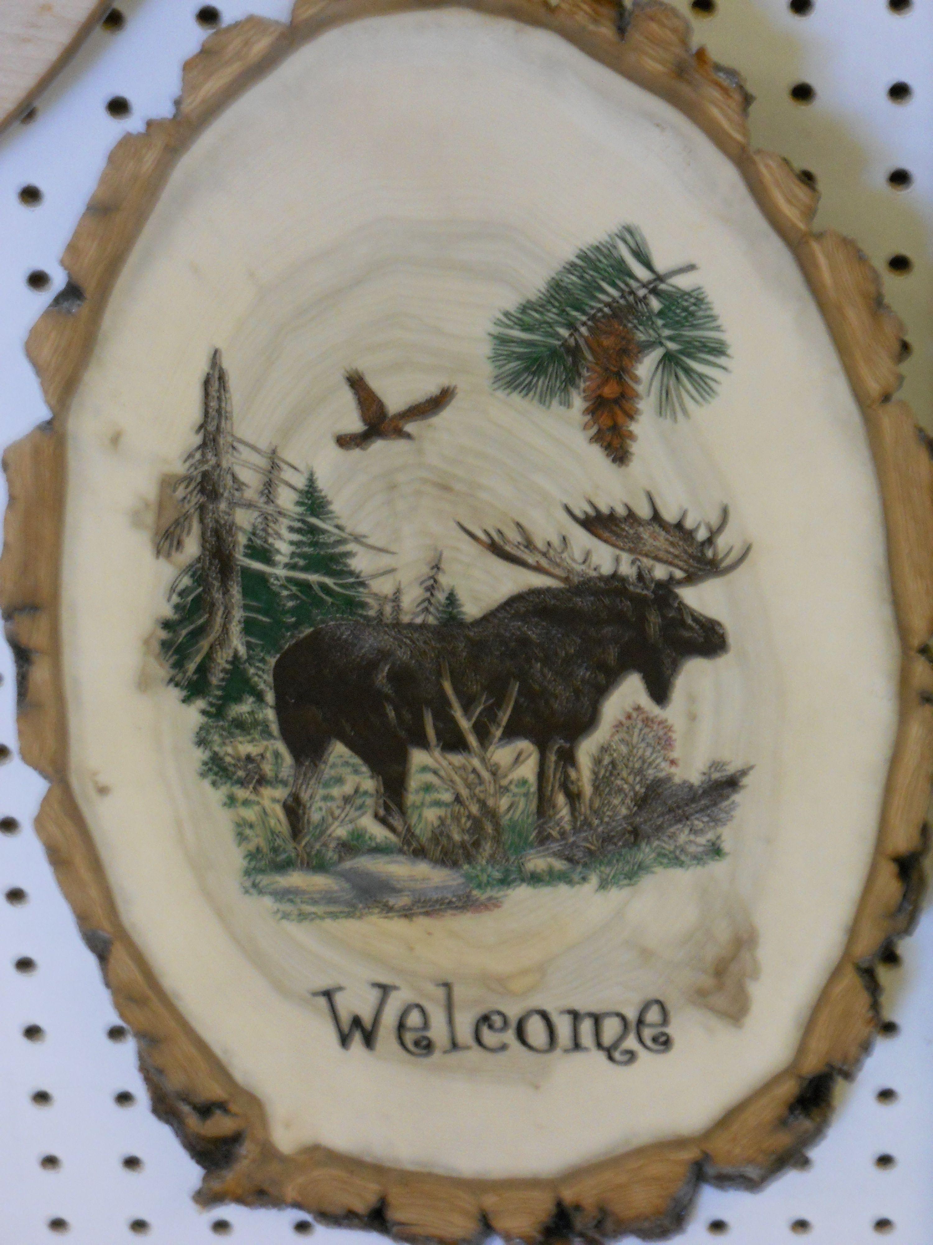 Log sliced moose plaque