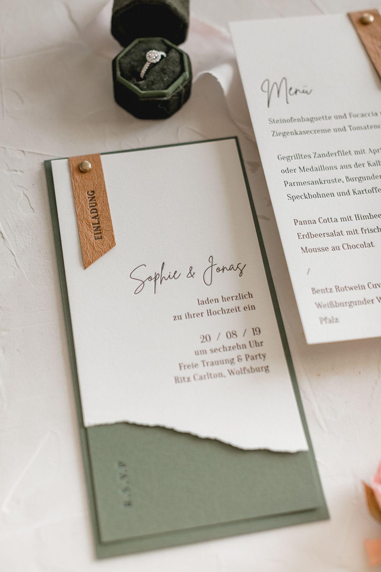 Letterpress Hochzeitseinladung, Hochzeitspapeterie  – Hochzeit   Wedding