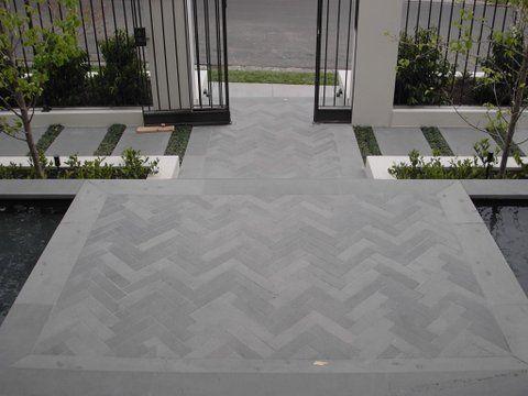 Herringbone Paving Front Garden Ideas Driveway Outdoor Paving