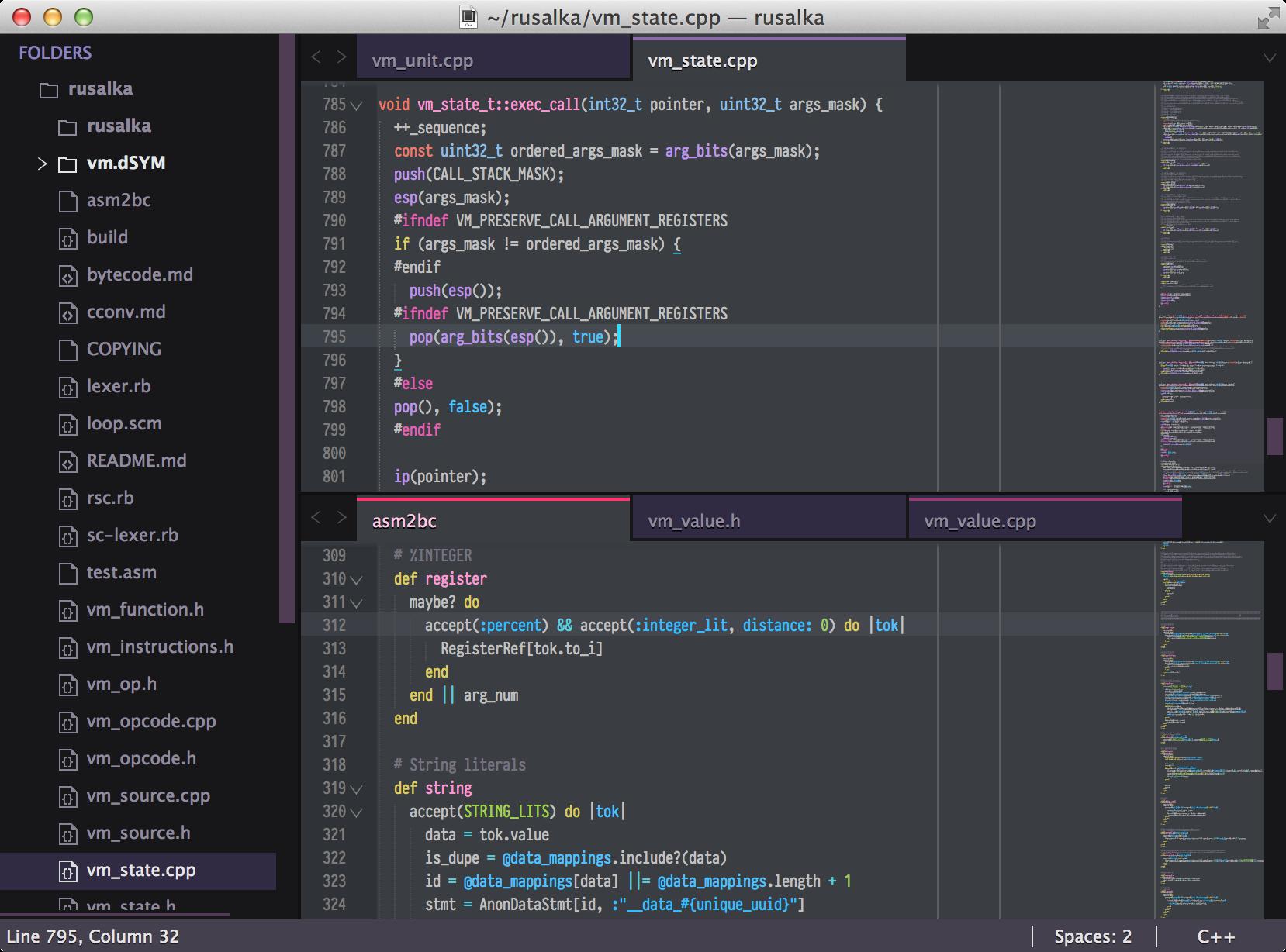 Freesia Theme Integrated development environment, Coding