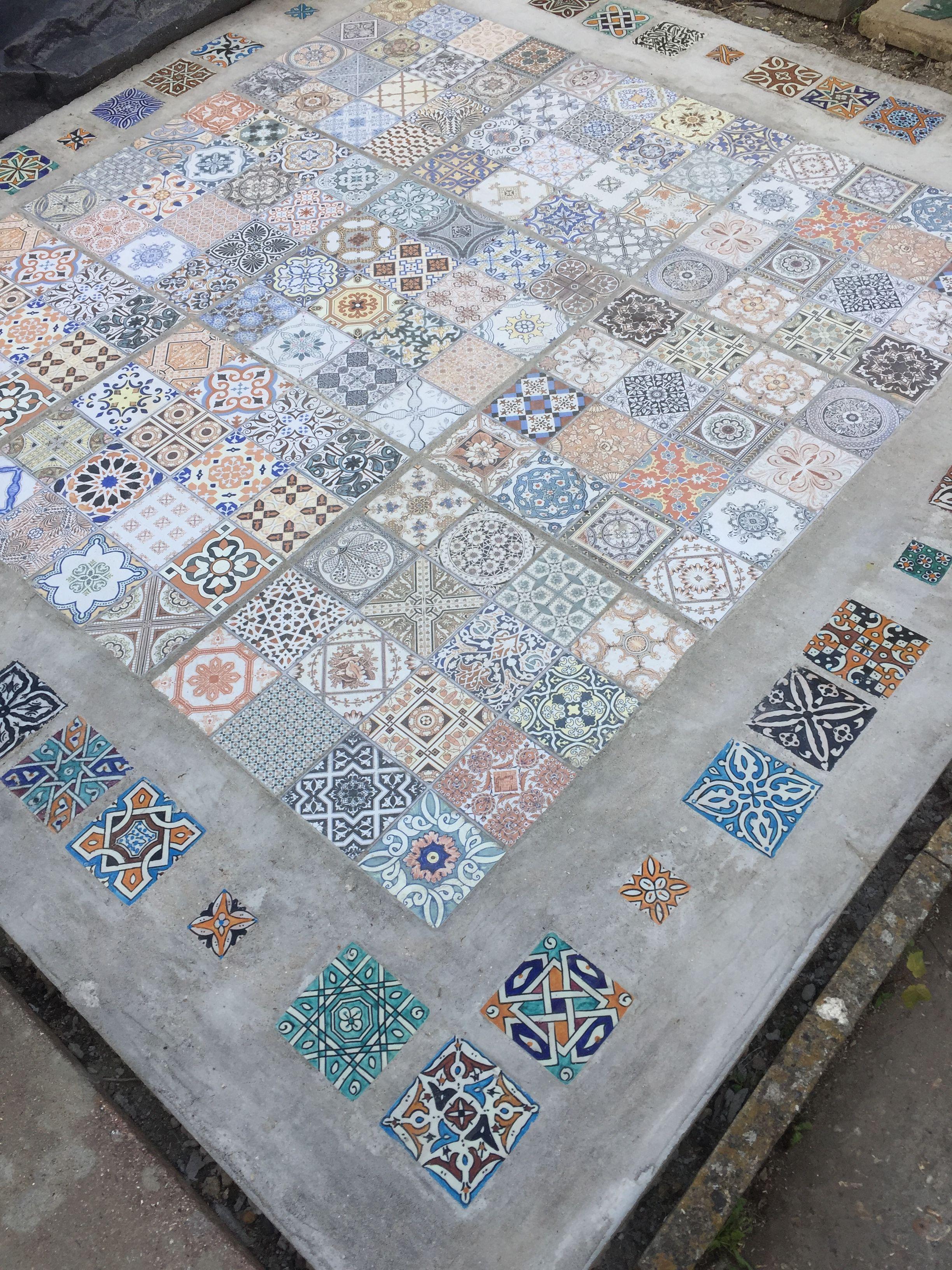 Moroccan Tiles Outdoor Patio Terrace Set In Concrete Outdoor