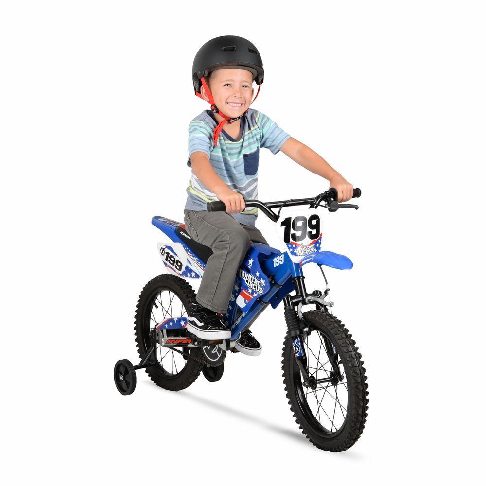 16 Kids Bike Boys Moto Dirt Motocross Bmx Motorcycle Style Blue