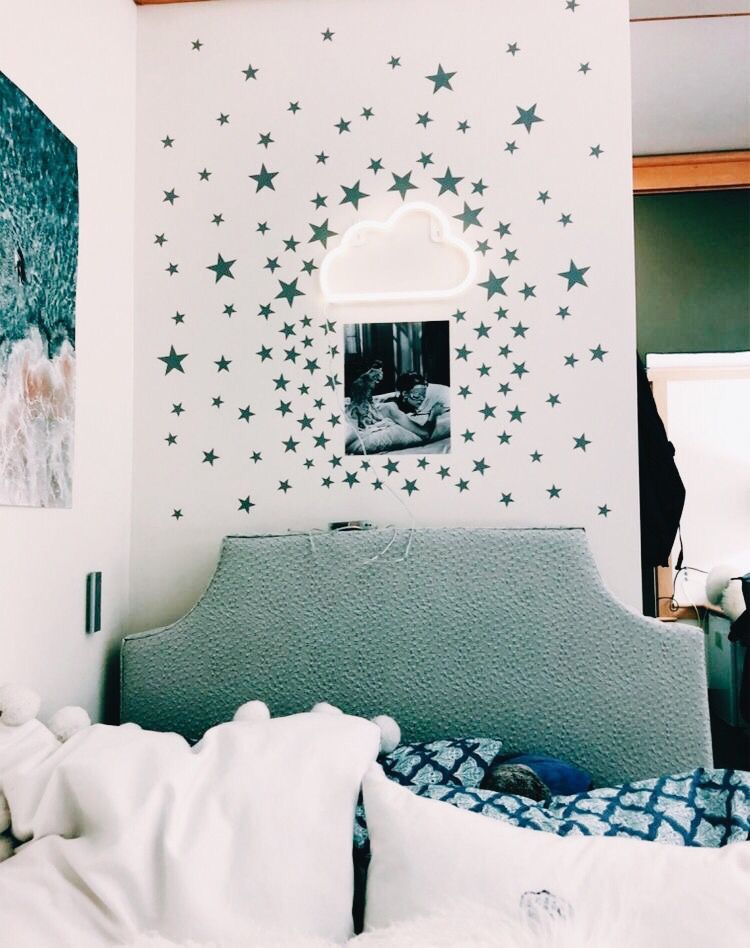 Put Glow In The Dark Cute Star Stickers On The Wall Dorm Room Decor Room Inspiration Dorm Room Inspiration