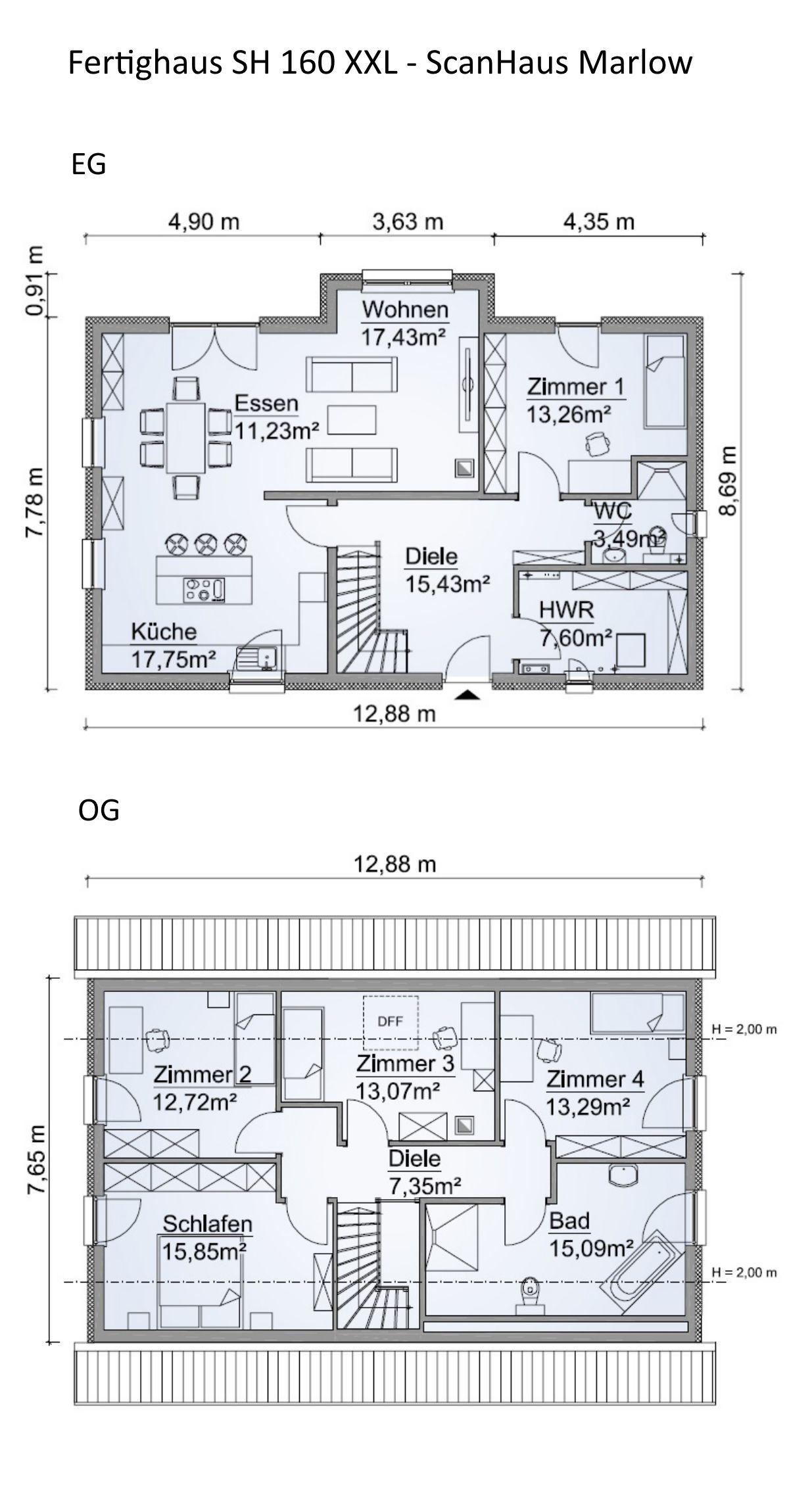 Einfamilienhaus Grundriss rechteckig, 160 qm mit