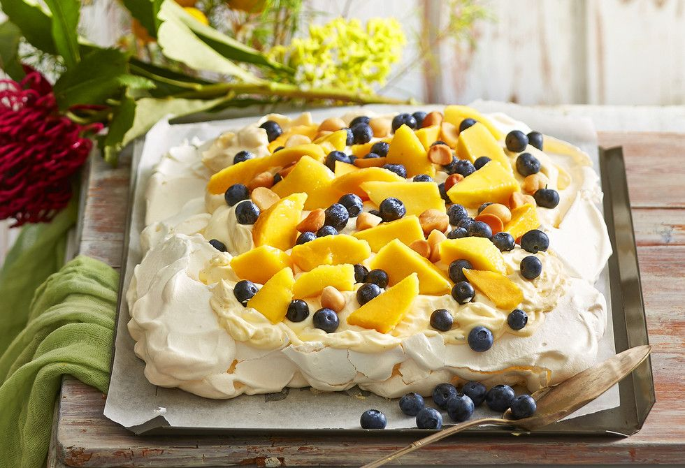 This is one true blue Australian recipe. Using fresh summer mangoes, blueberries and toasted macadamia nuts, this meringue is a great post dinner dessert.