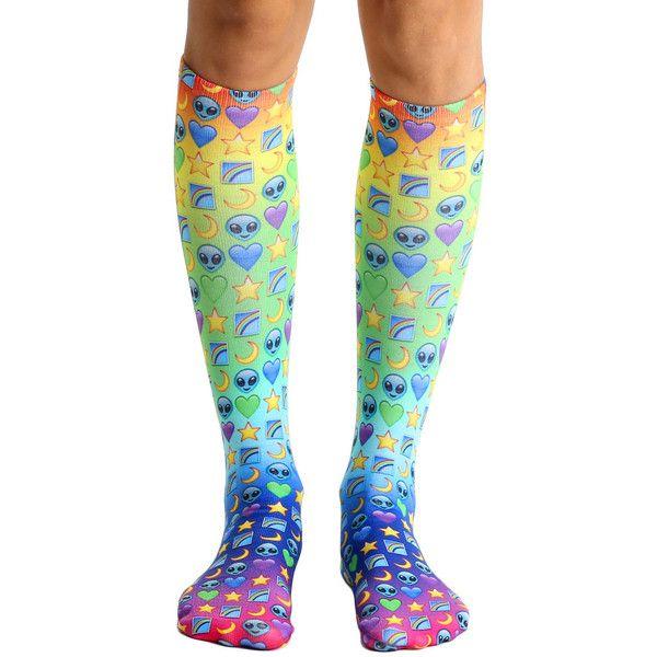 Galaxy Emoji Knee High Socks ($15) ❤ liked on Polyvore featuring intimates, hosiery, socks, knee high socks, knee hi socks and knee socks