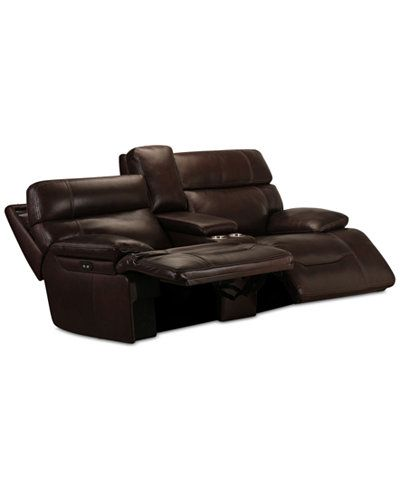 Barington Leather Loveseat with 2 Power Recliners Only at Macyu0027s  sc 1 st  Pinterest : leather loveseat with chaise - Sectionals, Sofas & Couches