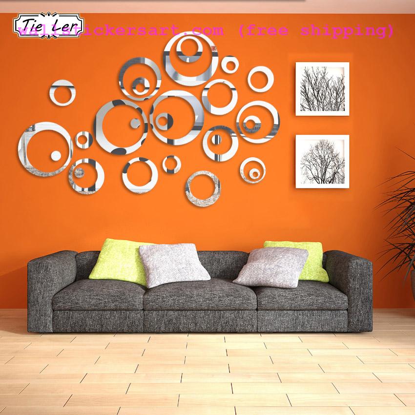 24pcs Acrylic Circle Mirror Tiles Bedroom Decal DIY Art Decor Wall Stickers