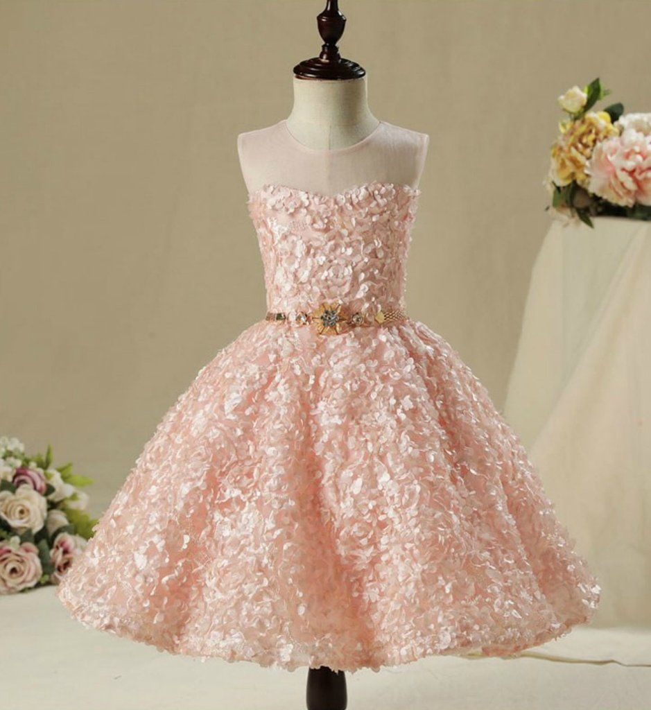 3D Floral Dress---Made To Order - High Quality Beautiful 3D Floral Applique  Sheer Round Neckline High low Train Flower Girl Gown With Gold Belt -  Available ... 5b2cb6b4c3c2